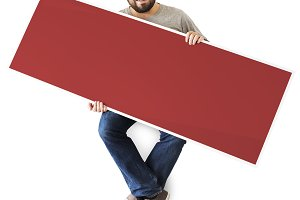 Man holding a blank banner (PSD)