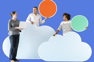 People with cloud & tech icons (PSD)