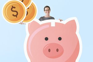 Woman with piggy bank mockup