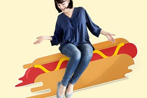 Woman on illustrated hotdog (PSD)