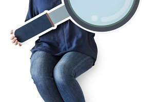 Woman holding magnifying glass (PSD)