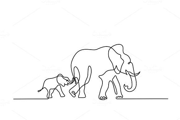 Elephant mom with baby walking symbol