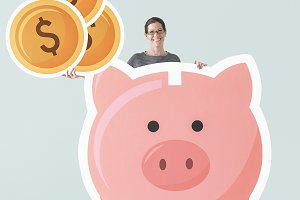 Woman with piggy bank mockup (PSD)