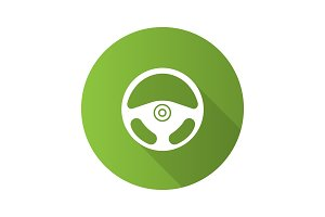 Car rudder flat design long shadow glyph icon