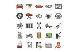Auto workshop color icons set