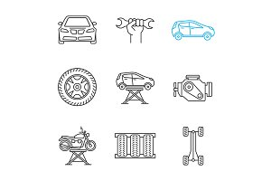 Auto workshop linear icons set