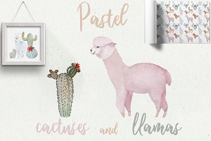 Pastel Llamas Clipart & Patterns PNG
