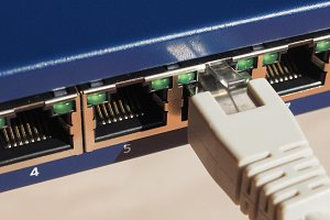Modem router switch with RJ45 ethernet plug ports