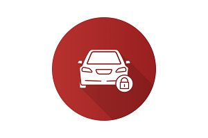 Locked car flat design long shadow glyph icon