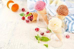 Various of ice cream flavor in cones