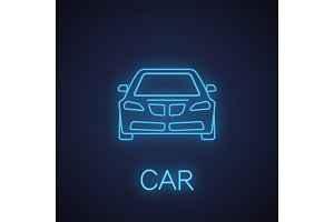 Car front view neon light icon