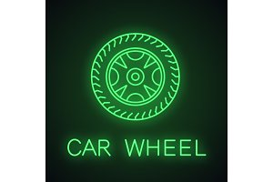 Car rim and tire neon light icon