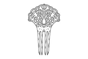 Vintage hairpin engraving vector illustration