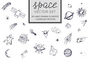 Hand drawn space vector set