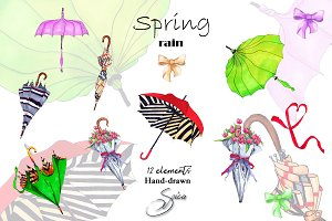 Umbrella. Hand painted clip art