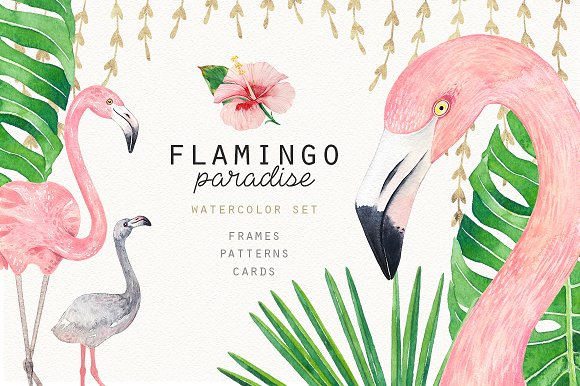 FLAMINGO PARADISE Watercolor Set