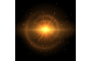 The golden star explodes in the sky