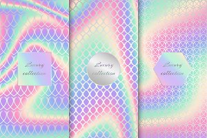 Set of colorful neon backgrounds