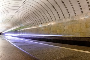 Subway train arriving