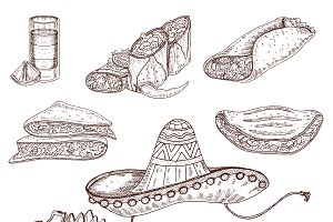 Mexican Food Hand Drawn Set
