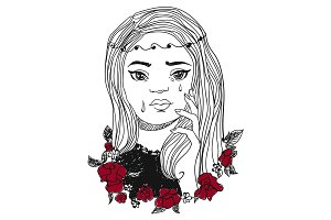 Crying woman vector illustration. Girl's emotion face and flowers.