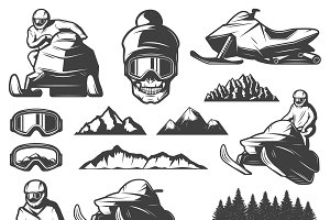 Vintage Winter Sport Elements Set