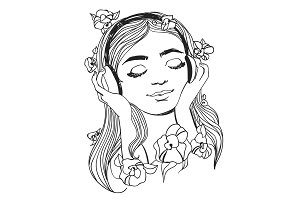 Beautiful woman with headphones and flowers. Vector music illustration.