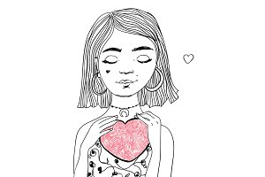 Pretty girl in love with heart shape in her hands. Vector Valentine's day illustration.