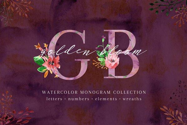 Golden Bloom - monogram set