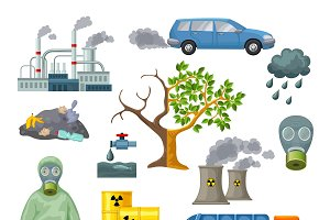 Environmental Pollution Icons Set