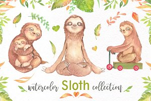 Watercolor Sloth Clip art