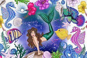 Mermaid Sea Life Fashion Clip Art