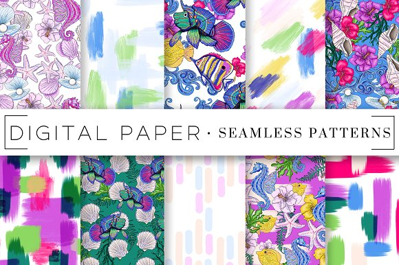 Sea Life Watercolor Digital Papers