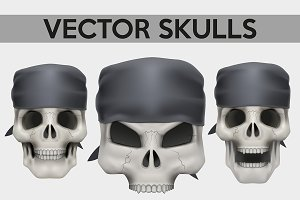 Set of Human skulls with bandana