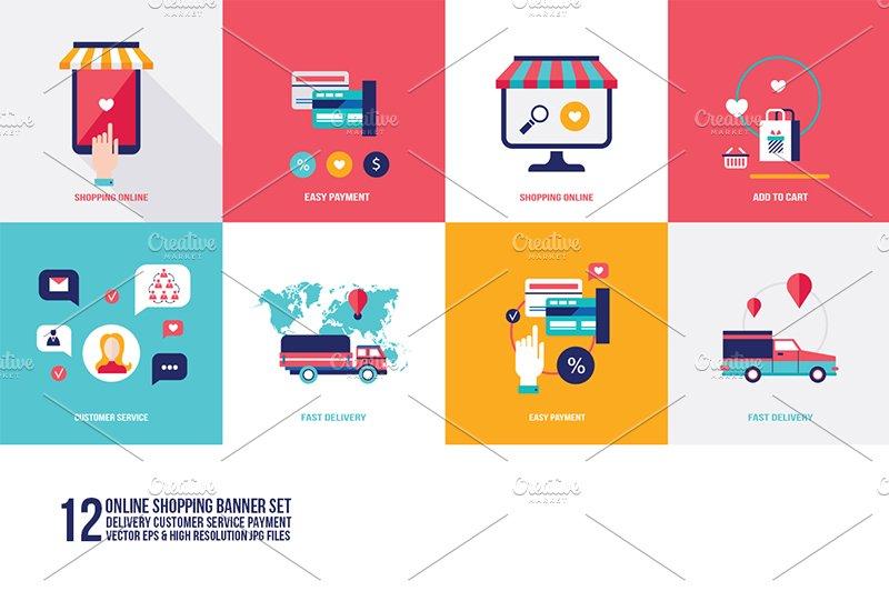 online shopping 12 banners set illustrations creative market. Black Bedroom Furniture Sets. Home Design Ideas