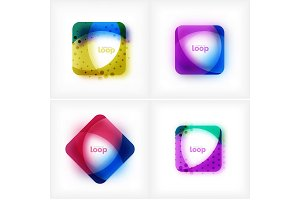 Set of vector square loop business symbols, geometric icons created of waves, with blurred shadow