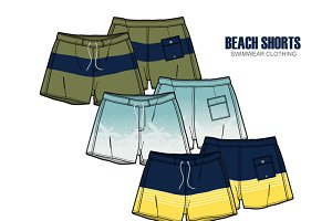 Men Beach Shorts Vector Apparel