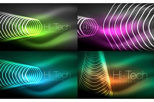 Collection of abstract backgrounds, glowing outline repeating hexagons