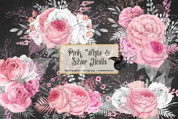 Pink White And Silver Florals
