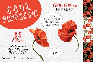 Cool poppies PNG watercolor set