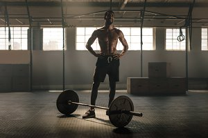 Muscular man after weight lifting