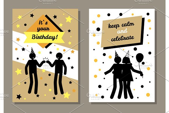 Its Your Birthday Cards Set Vector Illustration Illustrations