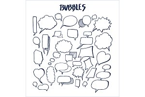 Set of Hand Drawn Bubbles Vector Illustration