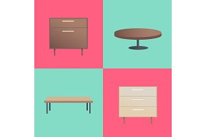Stylish Wooden Furniture With Smooth Surfaces