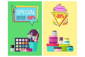 Special Offer for Skincare Means and Makeup Tools