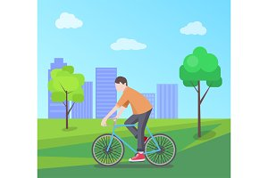 Man Riding Bike on Nature, Vector Illustration
