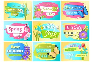 Spring Set Labels Discounts Advertisement Stickers