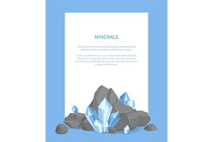 Minerals Poster with Text Vector Illustration