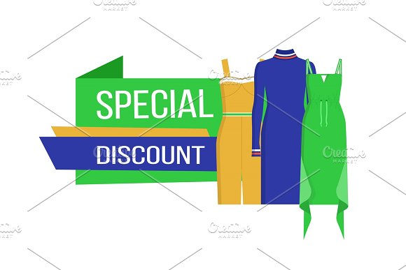 Special Discount On Clothes Vector Illustration