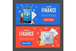 Finance Banner  Set. Vector